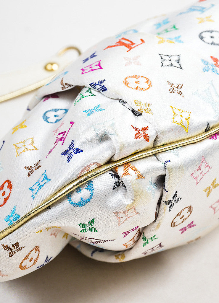 "Multicolor Louis Vuitton Monogram Satin ""Aumoniere"" Clutch Bag Detail"