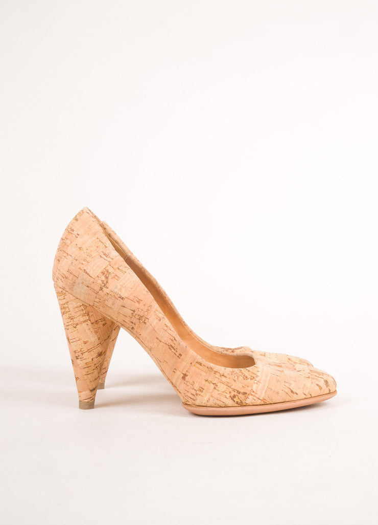 Maison Martin Margiela Tan Cork Closed Toe Pumps Sideview