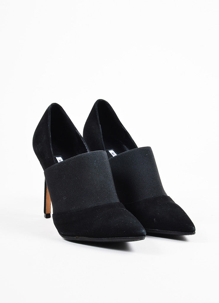 Manolo Blahnik Black Elastic Suede Pointed Toe Stiletto Heels Frontview