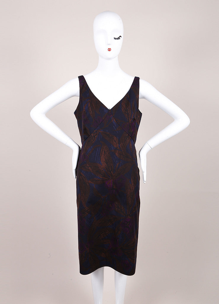 Marc Jacobs New With Tags Brown, Blue, and Purple Leaf Print Sleeveless Cotton Sheath Dress Frontview