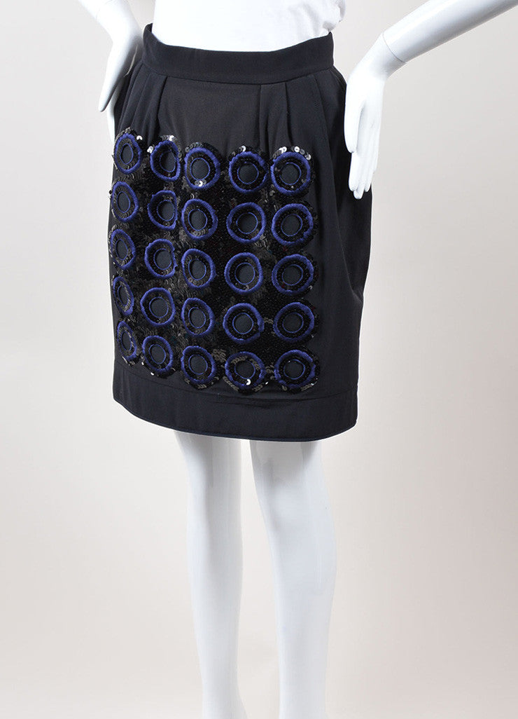 Marni Black Navy Silk Cotton Embroidered Circle Sequin Skirt Sideview