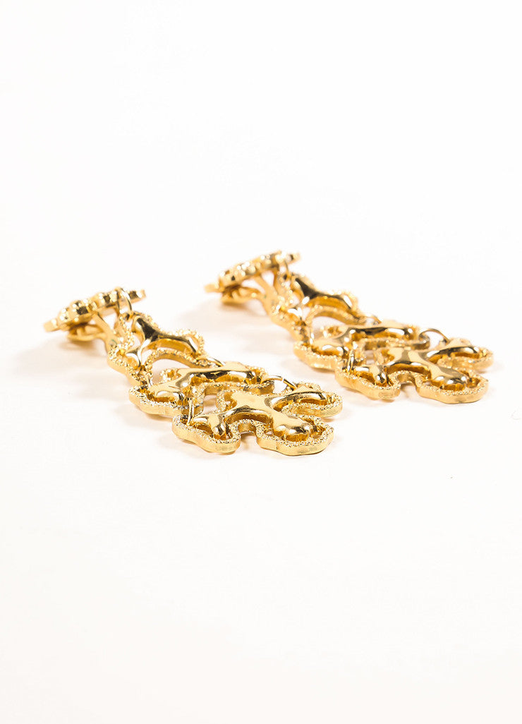 Monet Gold Toned Abstract Textured Chain Link Drop Earrings Sideview