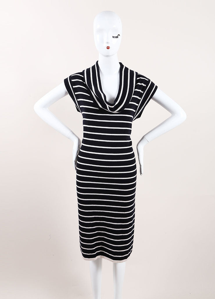 Oscar de la Renta New With Tags Navy and Cream Cashmere and Silk Stripe Sweater Dress Frontview
