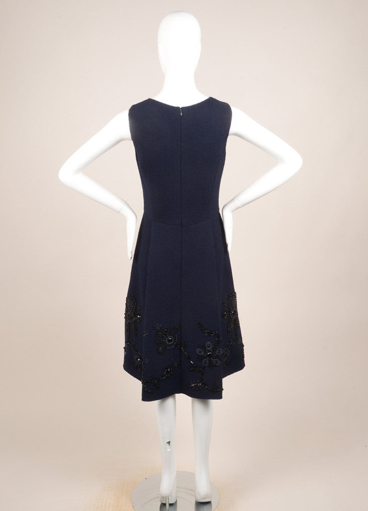 Oscar de la Renta Navy Wool Floral Beaded Embroidered Sleeveless Dress Backview