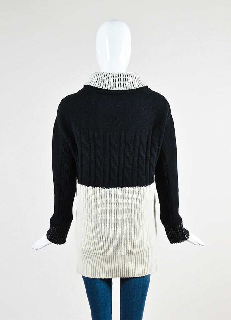 Prabal Gurung Black and Cream Cashmere Turtleneck Pullover Sweater Backview