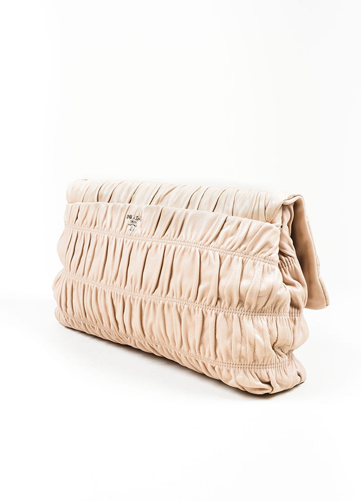 "Blush Prada Leather Ruched ""Napa Gaufre"" Large Clutch Back"