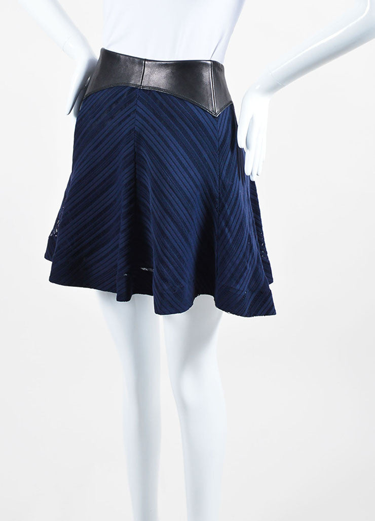 Black and Navy Blue Rag & Bone Leather Trim Eyelet Flared Skirt Sideview
