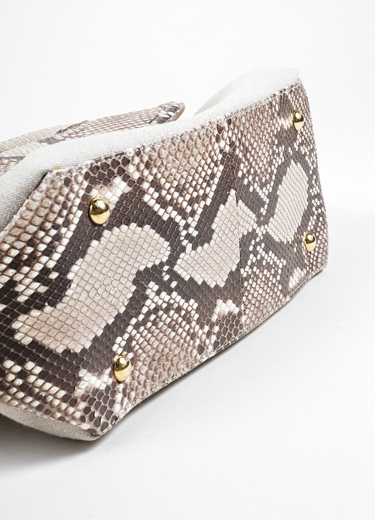 "Salvatore Ferragamo Taupe Canvas and Snakeskin ""Fiamma"" Shoulder Bag Bottom View"
