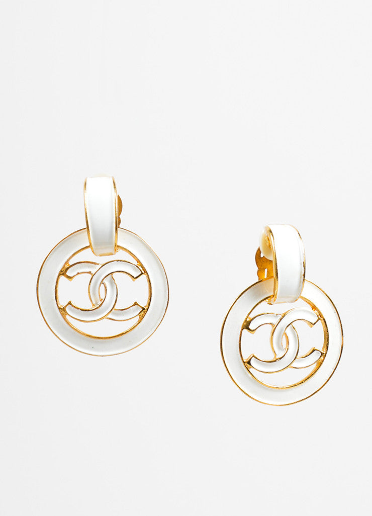 "Chanel White and Gold Toned Enamel Drop Circle ""CC"" Earrings Frontview"