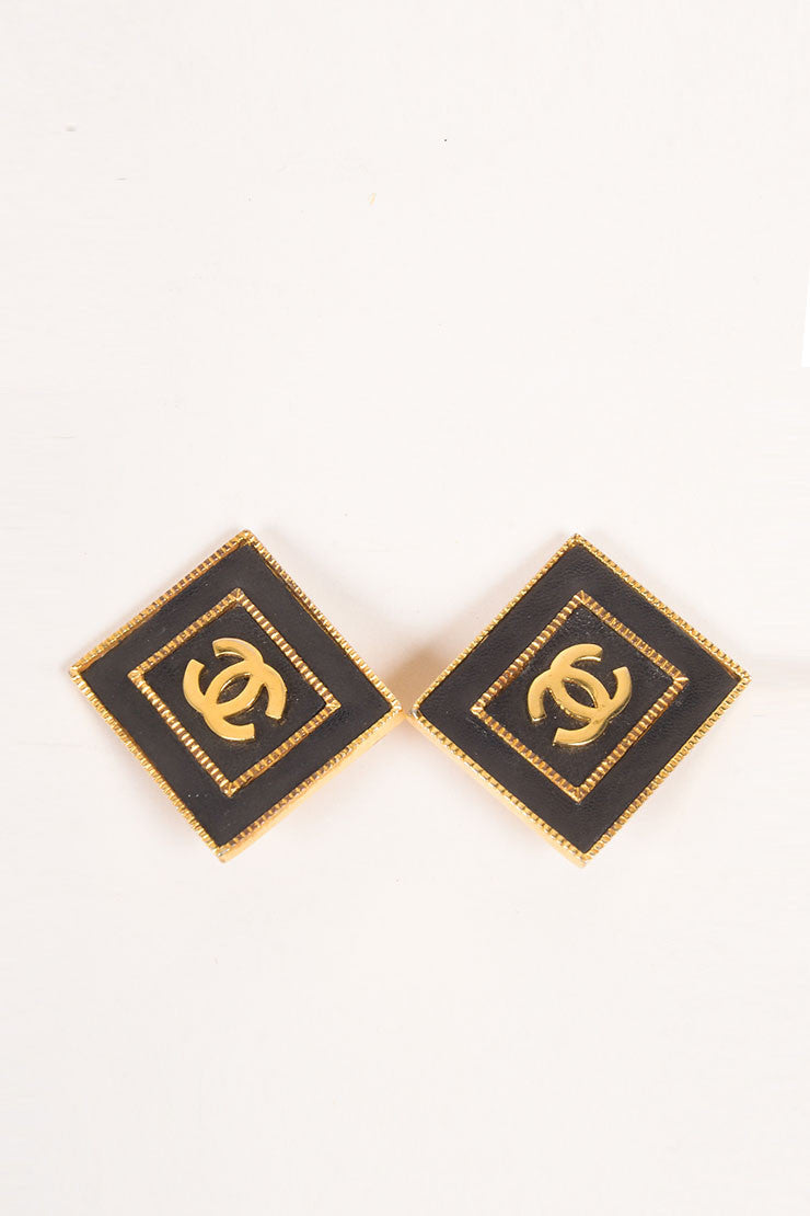 "Chanel Black and Gold Toned Leather and Metal Rectangular ""CC"" Earrings Frontview"