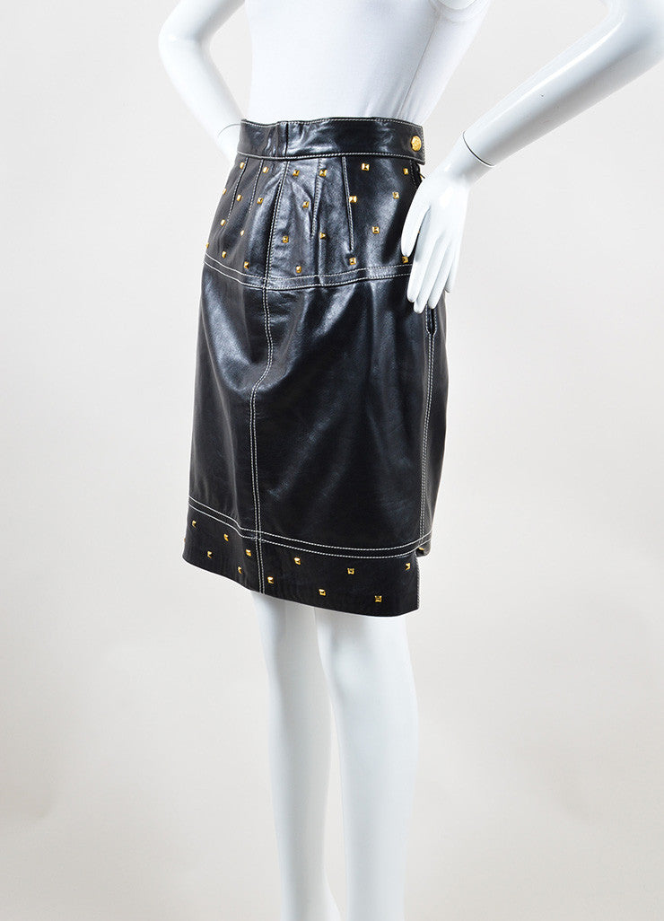 Esccada Black and Gold Toned Leather Studded Embellished Pencil Skirt Sideview
