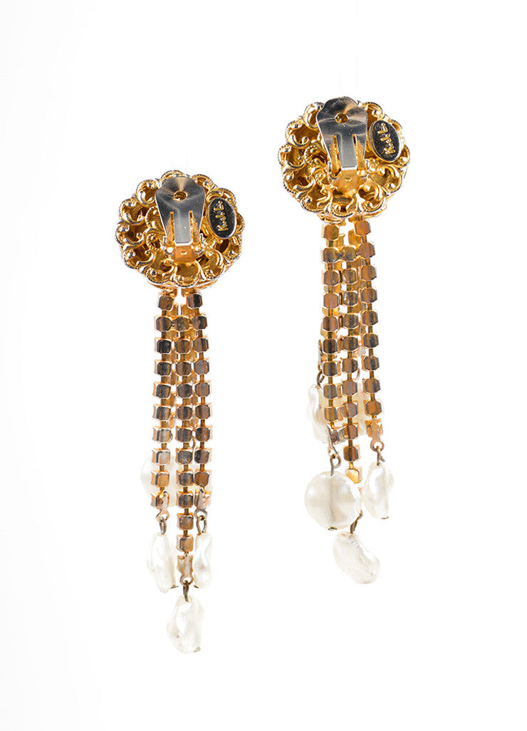 Kenneth Jay Lane Gold Toned Dangling Rhinestone and Faux Pearl Earrings Backview