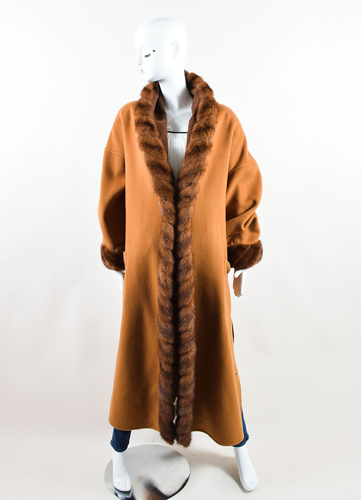 Revillon Camel Wool Fur Trim Collar Open Long Coat Frontview