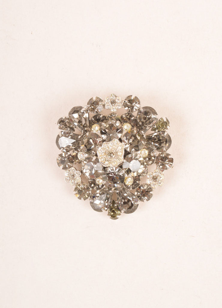 Weiss Grey and Silver Toned Rhinestone Embellished Floral Pin Brooch Frontview