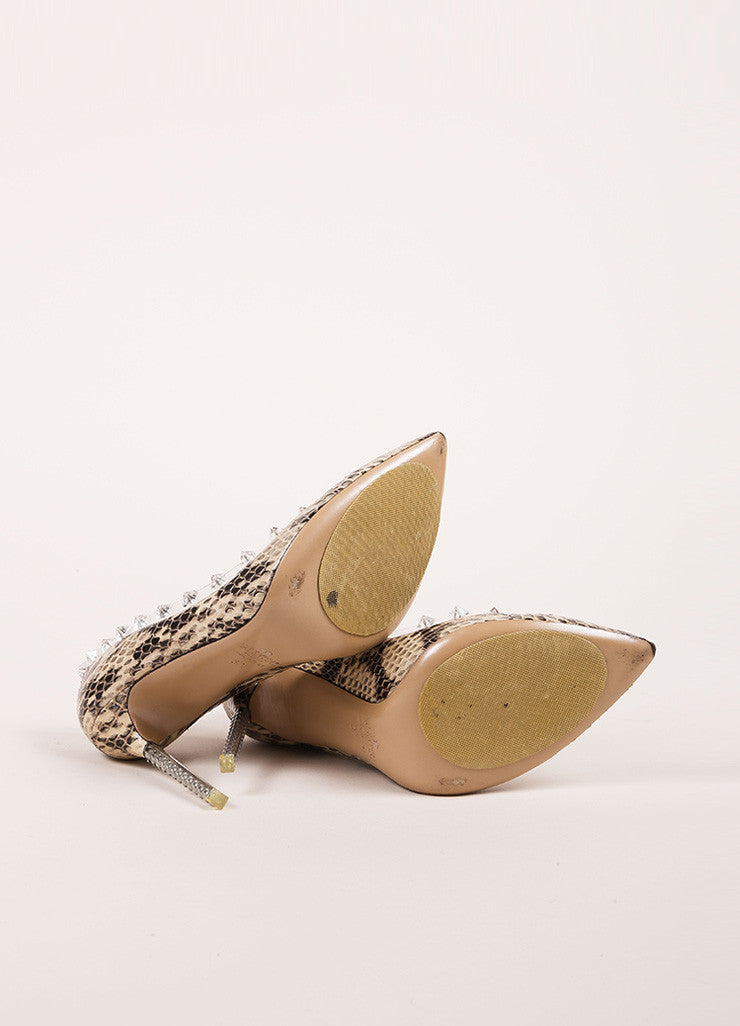 "Valentino Beige and Black Snakeskin Leather ""Naked Rockstud"" Pumps Outsoles"