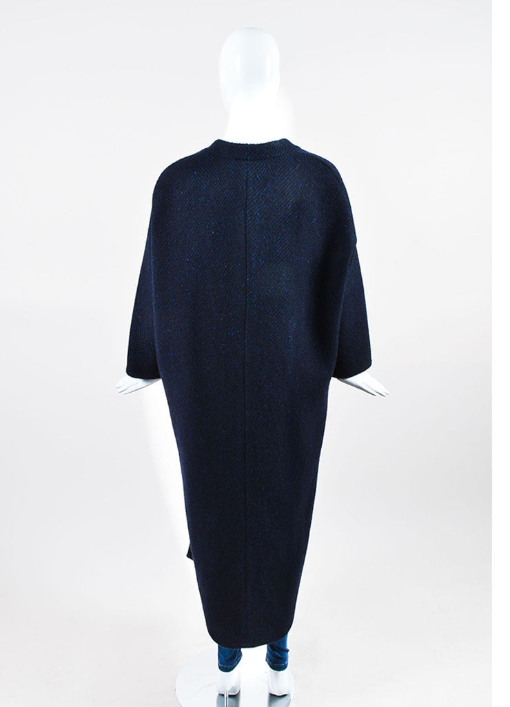 Blue and Black Valentino Wool Chevron Oversize Cocoon Cape Backview