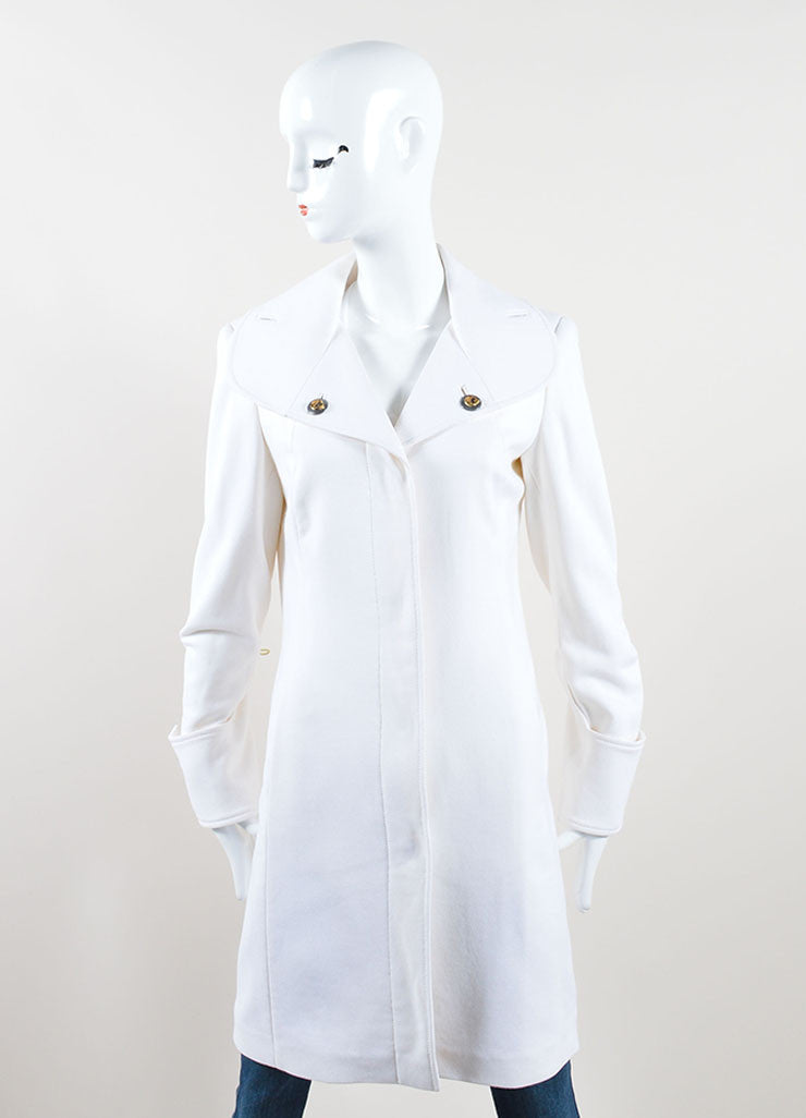 Versace Collection Cream Wool Shawl Collar Pea Coat Frontview