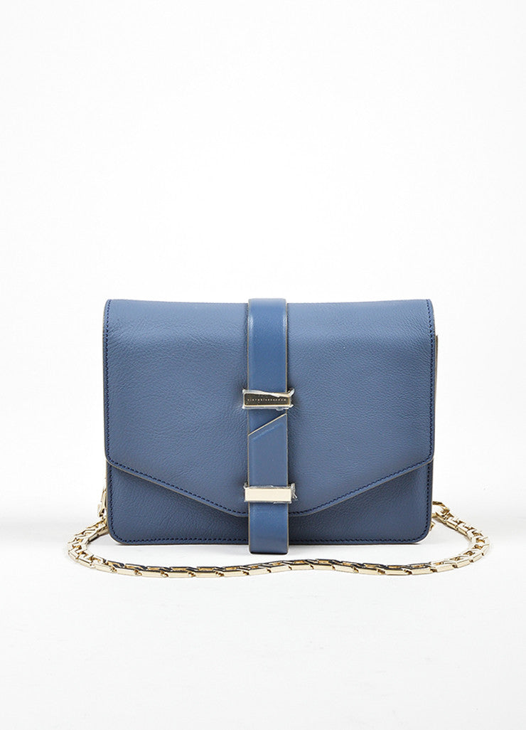 Victoria Beckham Blue and Grey Leather Mini Chain Satchel Bag Frontview
