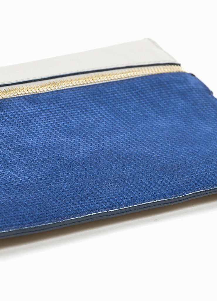 Grey and Blue Victoria Beckham Leather Zip Pouch Clutch Bag Bottom View
