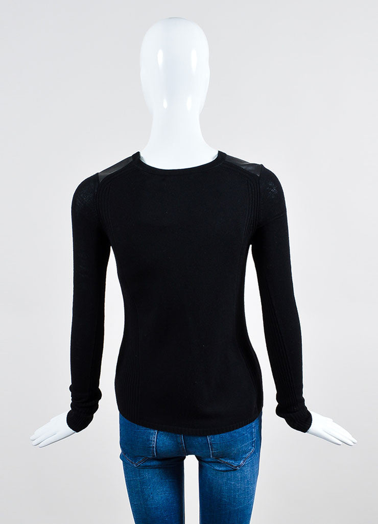 Vince Black Wool Ribbed Knit Leather Panel Long Sleeve Top Backview