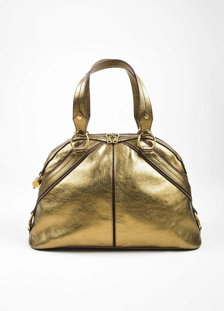 Gold Metallic Yves Saint Laurent Leather Tote Bag Frontview