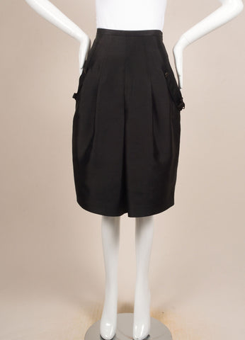 Y & Kei Black Silk Shantung Buckled Tab Pleated Skirt Frontview