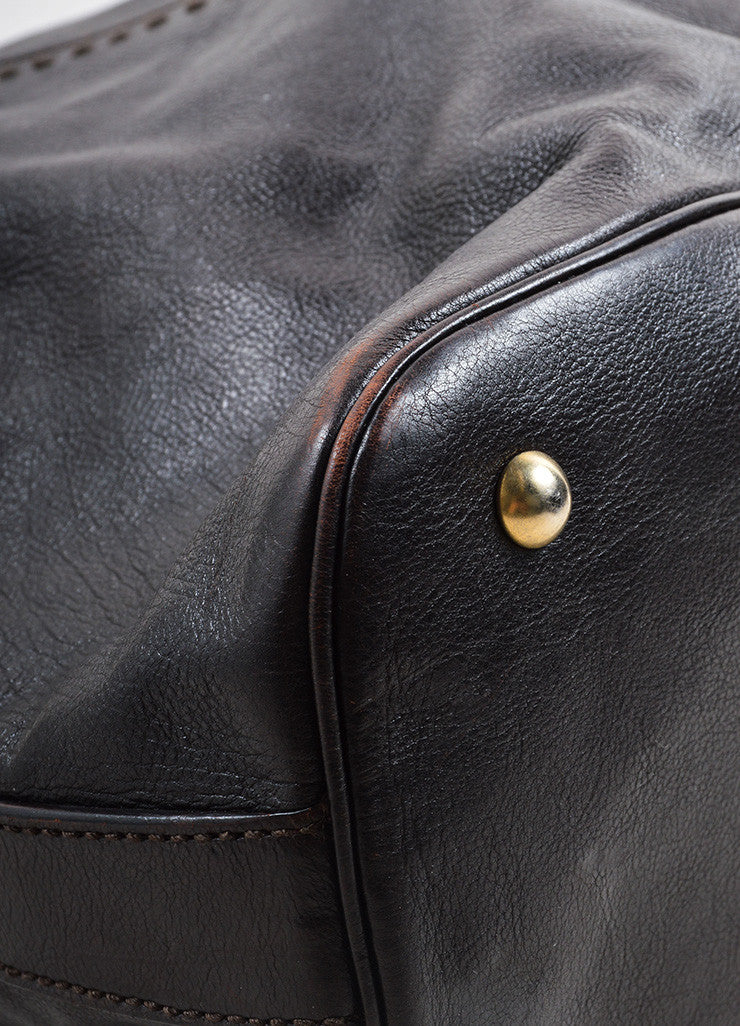 "Yves Saint Laurent Dark Brown Leather ""Muse"" Tote Bag Detail"