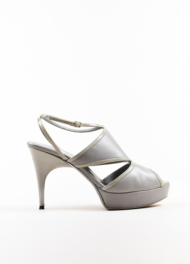 Yves Saint Laurent Grey Leather Platform Peep Toe Sandal Heels Sideview