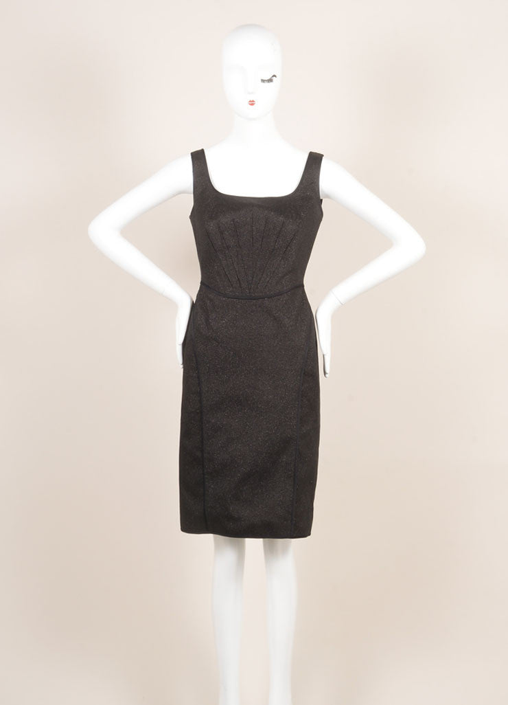 Zac Posen Black Metallic Sparkle Sleeveless Dress Frontview