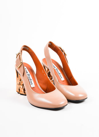"""Dusty Pink"" Acne Studios Leather Copper ""Odelia"" Slingback Pumps Front"