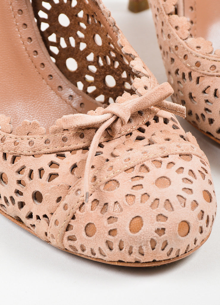 Blush Alaia Suede Floral Laser Cut Out Perforations Round Toe Pumps Detail