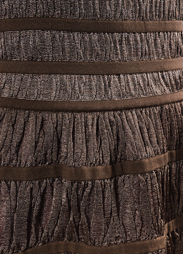 Metallic Brown Alaia Corset Strapless Dress Detail