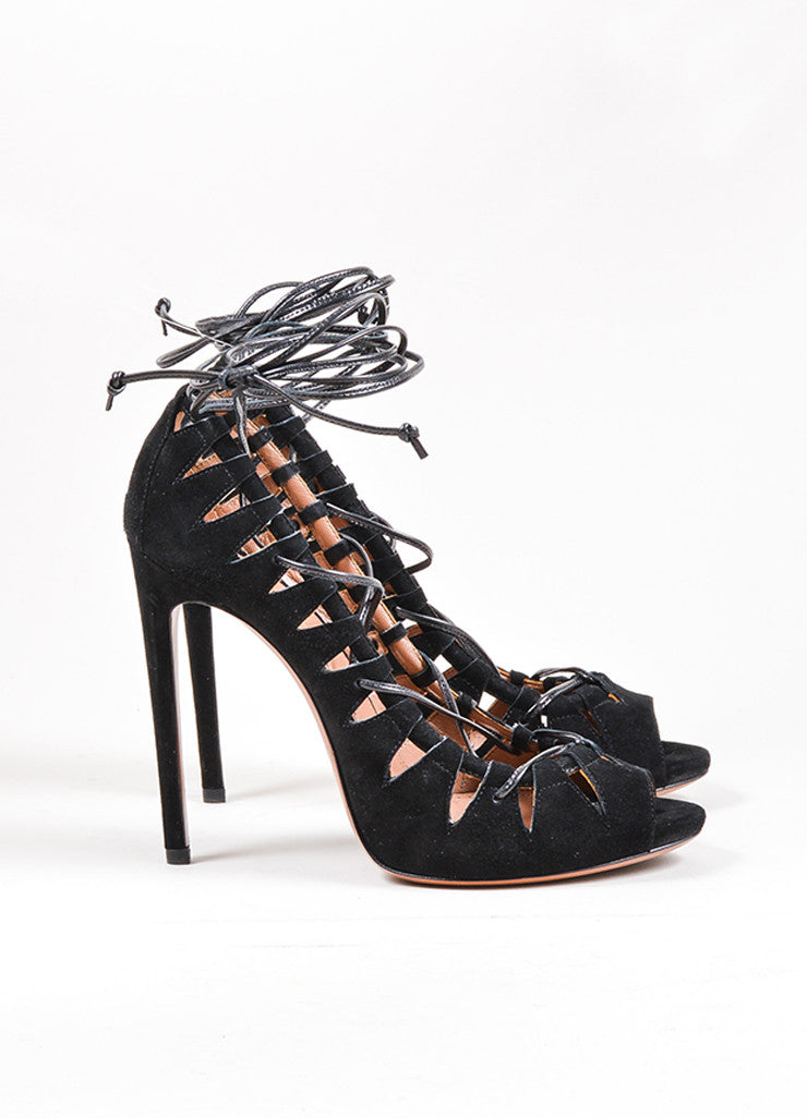Black Alaia Suede Leather Lace Up Cut Out High Heel Pumps Sideview