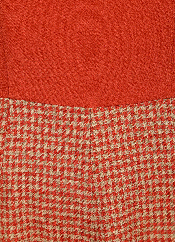 Andrew Gn New With Tags Tan, Orange, and Red Wool Blend Houndstooth Skater Dress Detail