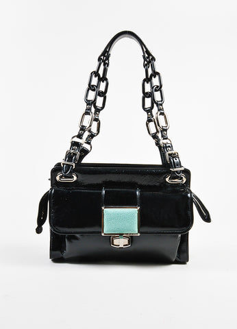 "Balenciaga Black and Turquoise Patent Leather Stingray Buckle ""Cherche Midi"" Bag Frontview"