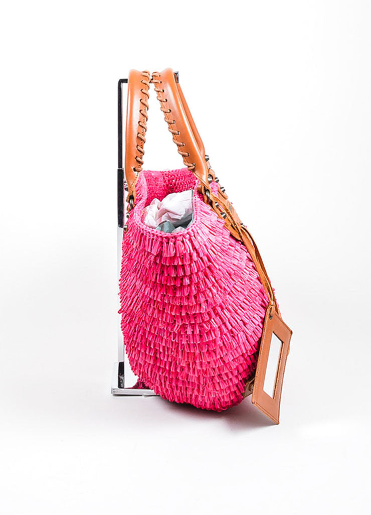 Hot Pink Balenciaga Raffia Whip Stitched Handle Tote Bag Sideview