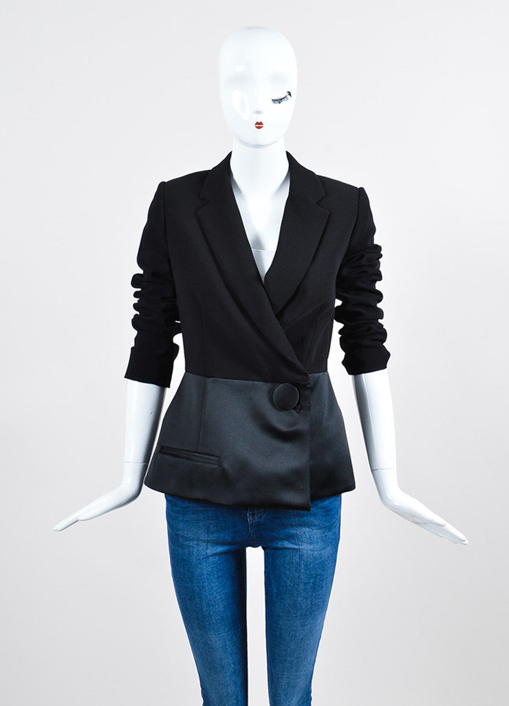Black Balenciaga Satin and Wool Double Breasted Peplum Jacket  Frontview 2