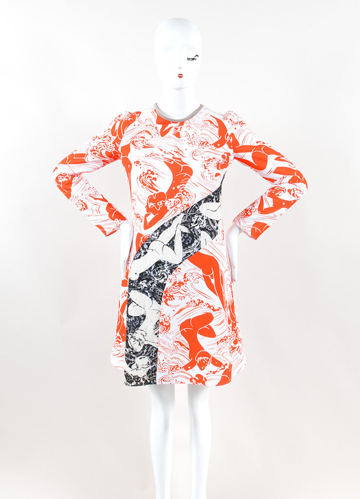 Carven White and Orange Lace Insert Graphic Print Long Sleeve Dress Frontview