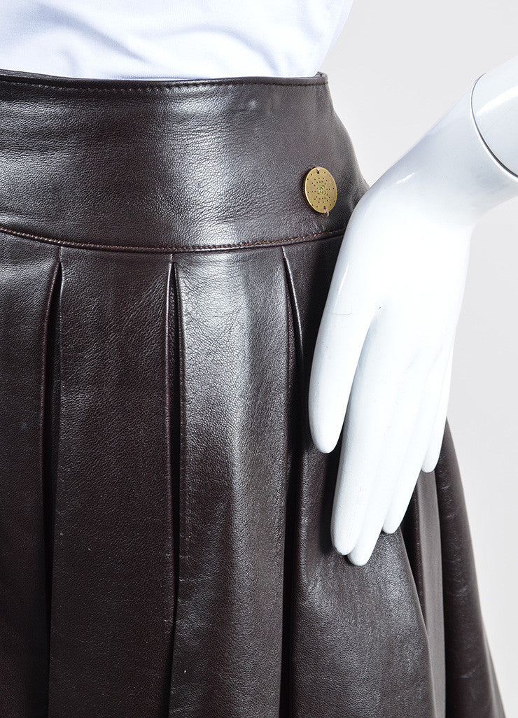 Burgundy Brown Chanel Leather Pleated A-Line Skirt Detail