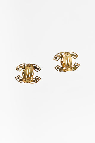 Chanel Gold Toned, Brown, and Pink Crystal Embellished 'CC' Clip On Earrings Backview