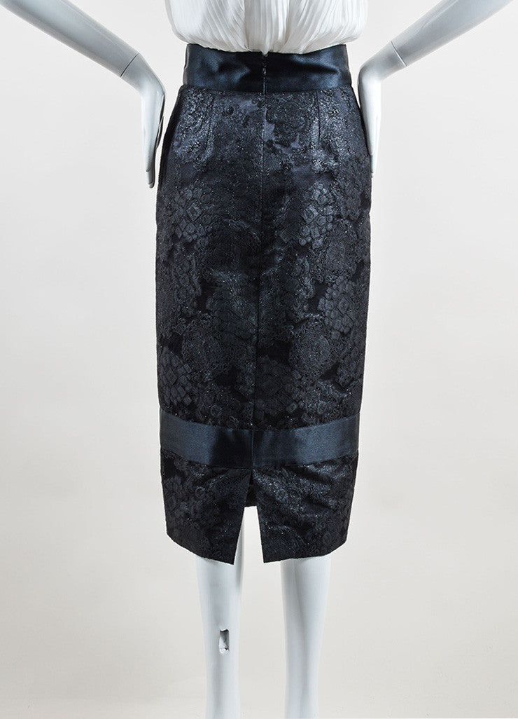 Chanel Black Wool and Silk Trim Embroidered Long Pencil Skirt Backview