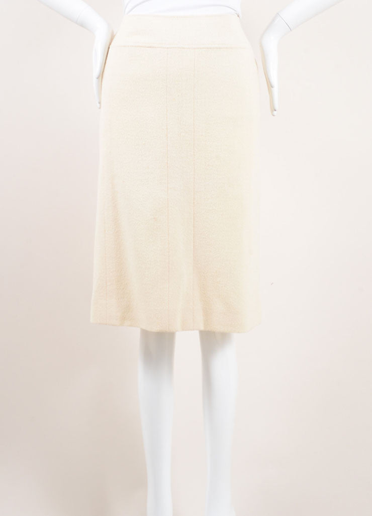 Chanel Cream Wool Boucle Knit Pencil Skirt Frontview