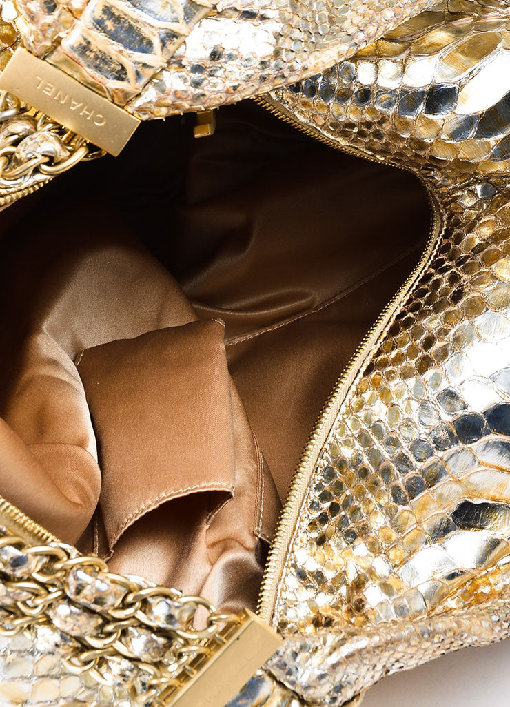 "Gold Chanel Metallic Python ""Rock and Chain"" Hobo Bag Interior"