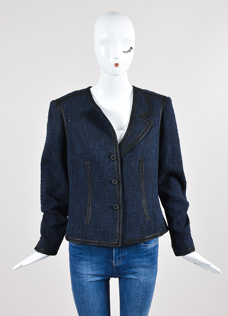 Navy Blue and Black Chanel Woven Knit Asymmetrical Lapel Jacket Frontview 2