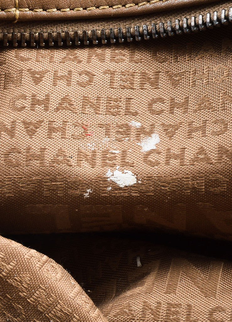"Taupe Brown Chanel Leather Quilted ""East West"" Top Handle Satchel Bag Detail 4"