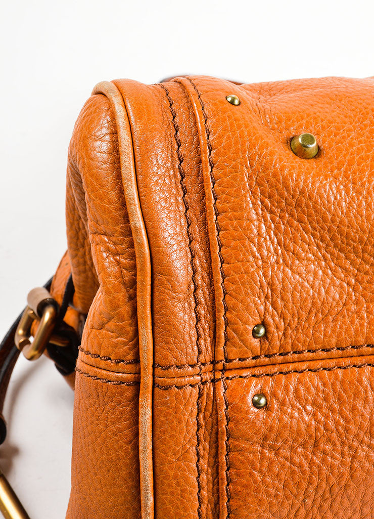"Brown Chloe Leather Oversized Lock ""Paddington"" Satchel Handbag Detail"
