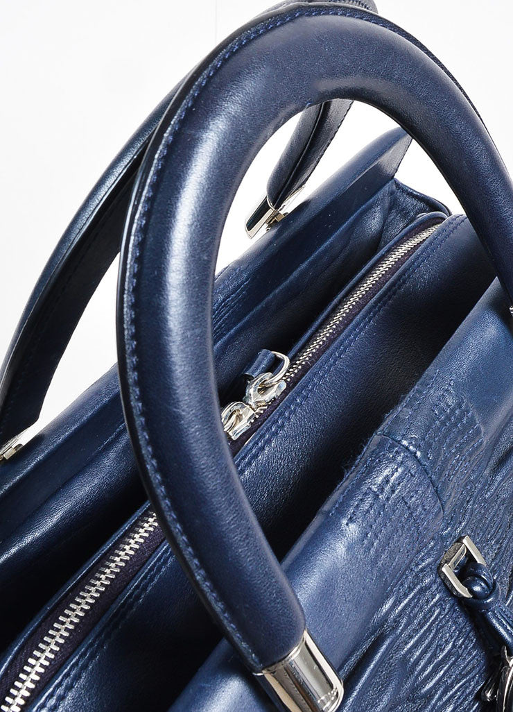 "Christian Dior Navy Leather Ruched ""Karenina"" Handbag Detail 2"