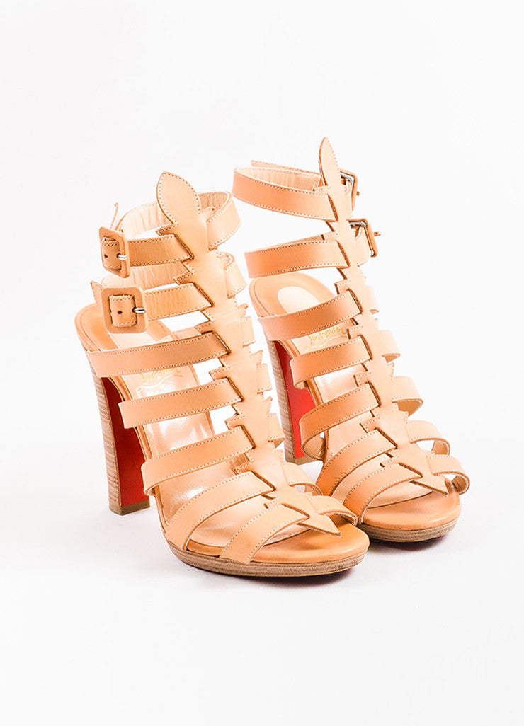 Christian Louboutin Beige Leather Platform Neronna Gladiator Sandals Frontview