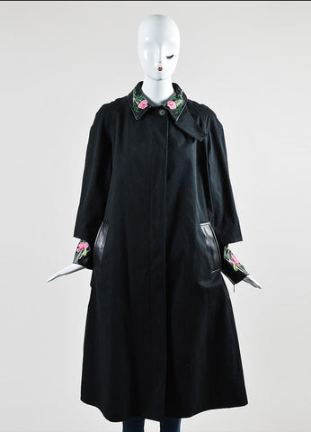 Black Christopher Kane Leather Trim Floral Embroider Trench Coat Frontview 2