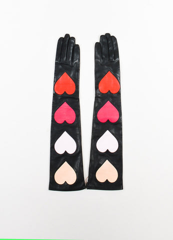 Christopher Kane Black Leather and Silk Long Heart Applique Gloves Frontview